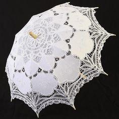 White Lace Embroidered Gothic Lolita Wedding Bridal Sun Parasol Umbrella SKU-71104101