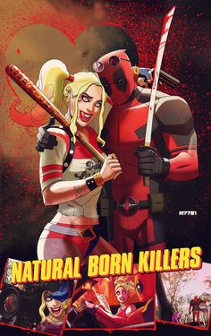 b7da5c9c6efcb9  Art  MarcoDAlfonso  Poster Deadpool and Harley Quinn in Awesome NATURAL  BORN KILLERS Poster