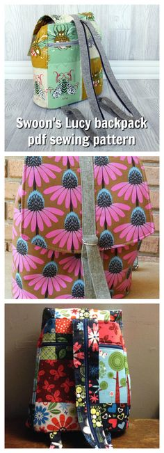 Here is the Lucy backpack from Swoon Sewing Patterns which is available as a downloadable pdf. It features three pockets and a roomy interior, and was inspired by mini backpack purses from the 1990's.