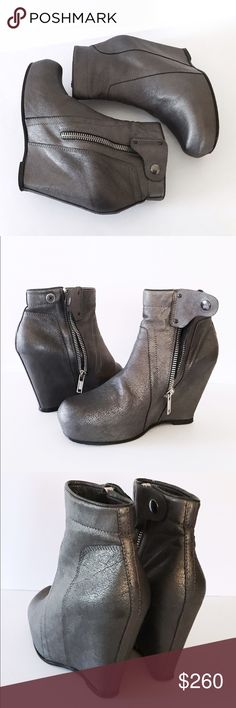 """Rick Owens Pewter Leather Wedge Ankle Boots 8.5M Pewter leather with silver hardware. Leather lining. Very good condition. Uppers have no significant wear. Soles show scuffing & color rub off. I've only worn these boots a few times. Clean inside & out. Side zipper & snap close. Round toe. Hidden Platform-Front 1.25""""/Back 4.25"""". Total height 8.5"""". Top circumference 11"""". Rick Owens Shoes Ankle Boots & Booties"""