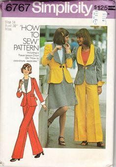 70s Simplicity 6767 Women Jacket Short Skirt Pants Sewing Pattern Miss 14 Bust 36