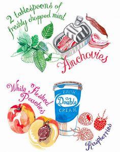 Recipe drawings for Sainsbury's Magazine by Hennie Haworth