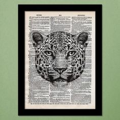 Black and White Leopard Dictionary Art Print