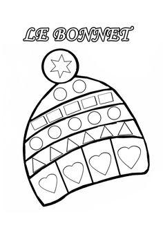Coloriage à gommettes le bonnet dessiné par nounoudunord