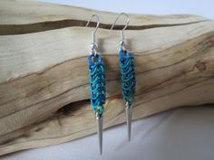 Handmade Coloured Chainmaille Spike Earrings. Blue and Green.