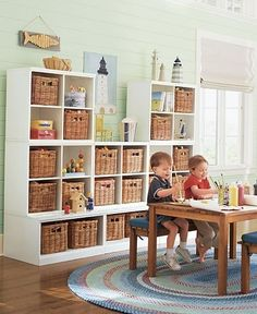 play room ideas // like the storage shelves with the deeper ones below