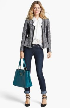 Classic Classiques Entier® Knit Jacket, Silk Blouse & Paige Denim Skinny Jeans  available at #Nordstrom