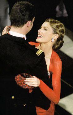 The Prince of Asturias dances with his fiancee, doña Letizia Ortiz in 2004