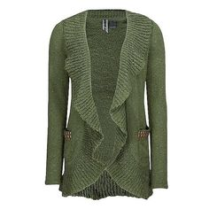 "BKE Studded Cardigan Sweater ($48) found on Polyvore    of course sold out but looking for something similar with the ""ruffle"" front"