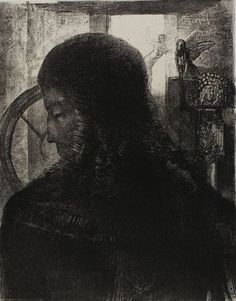 Odilon Redon French, 1840-1916  Old Knight, 1896  Lithograph in black on cream China paper laid down on ivory wove paper 296 x 235 mm (image/chine); 532 x 349 mm (sheet)  The Stickney Collection, 1920.1798  Mellerio 158 before letters; Werner 133  Prints and Drawings