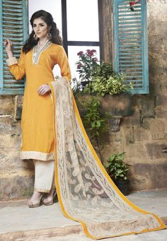 Yellow and Cream Cotton Silk Party Wear Suit 7850/-