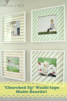 : Churched Up Washi Tape Matte Boards. A super simple way to make an HUGE Impact! Or use scrapbook paper. Tapas, Cool Diy Projects, Kids Decor, Washi Tape, Scrapbook Paper, Easy Crafts, Crafty, Ikea Frames, Entry Hallway