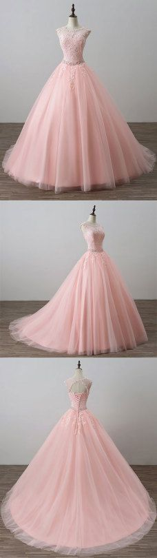 pink lace tulle long prom dress, pink evening dress, formal dress
