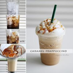 Starbucks Iced Caramel Frappuccino CopyCat Recipe - Forget about heading to Starbucks for coffee fix and make your own caramel Frappuccino at home! Starbucks Frappuccino, Starbucks Coffee, Starbucks Drinks, Iced Coffee, Starbucks Breakfast, Coffee Enema, Starbucks Pumpkin, Coffee Logo, Ninja Coffee Bar Recipes