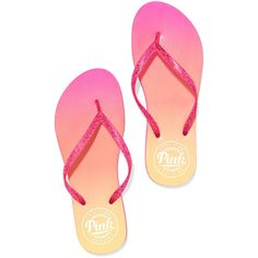 PINK Flip Flops ($9.50) ❤ liked on Polyvore featuring shoes, sandals, flip flops, sapatos, 22. flats & sandals., flat heel sandals, beach flip flops, flat shoes, flat pumps and rubber beach sandals