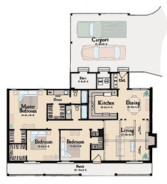 Plan W8429JH: Corner Lot, Ranch House Plans & Home Designs-nice basic plan, add butler's pantry, garage and more space for living