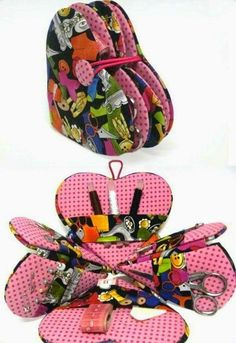 Adorable pattern for a DIY Sewing Kit :) hearts. Sewing Case, Sewing Tools, Sewing Notions, Sewing Hacks, Sewing Tutorials, Sewing Patterns, Sewing Kits, Fabric Crafts, Sewing Crafts