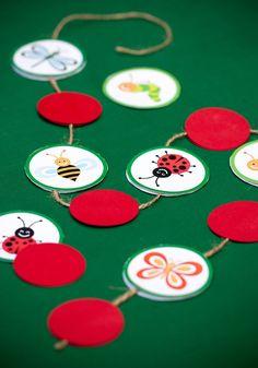 Lil' Bug Theme Birthday + Free Party Printables + DIY Polkadot Garland Decoration