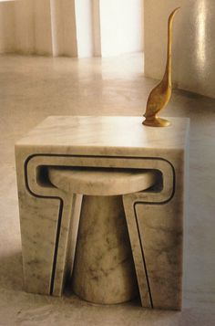 Marble nesting table by Jim Hannon-Tan. ~~~~ Love this for small living, & beautiful for balcony/deck area!