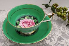 Paragon China Tea Cup and Saucer Kelly Green by PinkDahliaStudio, $59.00