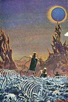 """This is the Gray Morrow cover art on the June 1967 issue of Galaxy Science Fiction. While it clearly depicts Zoromes in Morrow's style, there was no Zorome story by Neil R. Jones in this issue. (oddly, it was used to illustrate a Roger Zelazny story, """"The Man Who Loved the Faioli"""", which does contain a mention of robots but no description to suggest they looked like Zoromes)."""