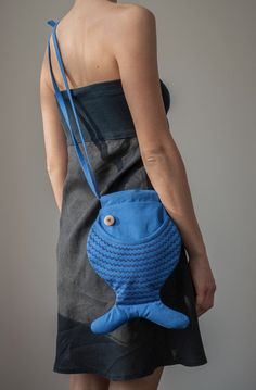 Fish Bag Blue Fish Purse Persian Blue Cross Body Bag von Marewo, $39.00