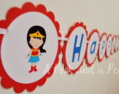 Wonder Woman Super Hero Inspired Personalized Happy Birthday Banner Party Decoration