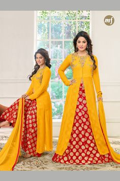 Stylish Wedding Wear Yellow Red Indo Western Style Suit With Work 95004