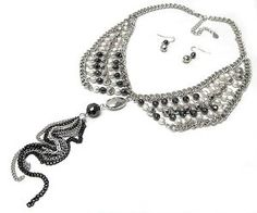 Collar Tassled Necklace and Earrings Hematite Beads Silver Statement Set -- GREAT set @modtaost