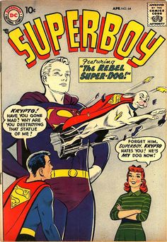 Comic Book Critic - Google+ - Superboy #64 (Apr '58) cover by Curt Swan & Stan Kaye.