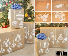 Cutting Edge Stencils shares how to stencil DIY gift wrap using Christmas Ornaments Stencil and Kraft paper. Diy Felt Christmas Tree, Christmas On A Budget, Handmade Christmas Decorations, Christmas Ornament Crafts, Christmas Gift Wrapping, Christmas Crafts For Kids, Holiday Crafts, Christmas Projects, Christmas Lights