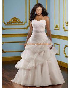 Herz-ausschnitt A-linie Bodenlang Extravagante Brautkleider 2013 aus Organza mit Perlenstickerei