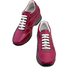 Elevator Shoes for Women : Okinawa. Upper in fuchsia full grain leather, lining in soft goatskin, 2 pairs of cotton shoe laces. Hand Made elevator shoes in Italy by www.Guidomaggi.com/us