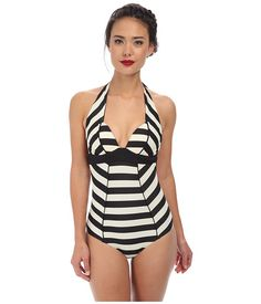 Leave a lasting impression in a Unique Vintage one-piece that epitomizes  old-Hollywood - glamour. - Retro one-piece flaunts retro-inspired striped  pattern. bae4826b8aa8