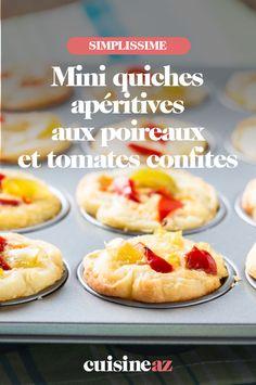 Ces mini quiches apéritives aux poireaux et tomates confites sont parfaites pour l'été. #recette#cuisine#quiche#patisseriesalee #poireau #tomates