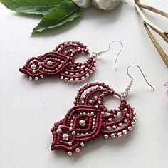 Macrame earrings DIY red macrame earrings beaded earrings