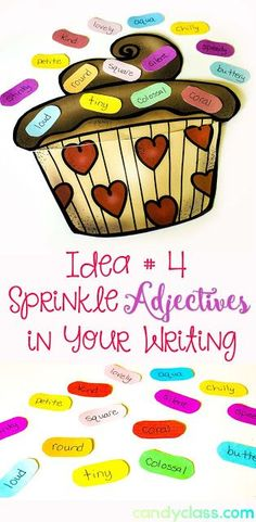 Find out how these adjective sprinkles were used to improve student use of adjectives in their writing. Includes many other activities and ideas for this grammar skill to be taught in the classroom. Grammar Skills, Teaching Grammar, Teaching Writing, Teaching Tips, Expository Writing, Student Teaching, Adjectives Activities, Grammar Activities, Writing Activities