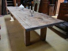 Grande table de ferme très primitive en chêne 3,60m