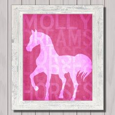 Personalized Horse Art Print or CANVAS Girls Room Decor Horse Lovers Gift Pink or Custom Colors Customized Horse Sign Print Rustic Horse Themed Bedrooms, Horse Crafts, Poster Prints, Art Prints, Teenager, Kids Rooms, Kids Bedroom, Bedroom Decor, Diy Arts And Crafts