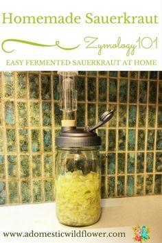 Homemade Sauerkraut: Zymology 101 | A Domestic Wildflower click to read this helpful tutorial for those interested in getting started fermenting foods like sauerkraut! This tutorial tells you everything you need to know to make a batch of sauerkraut in a mason jar on your countertop. Click to read now!
