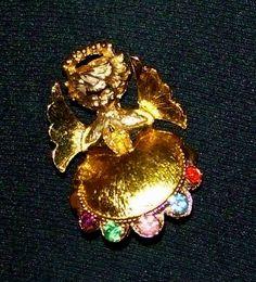 1058~Vintage Gold Tone Multi Color Rhinestone Figural Praying Angel Brooch Pin**