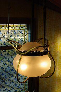 Art Nouveau - Villa Demoiselle - Reims - Intérieurs - Vitraux et Lustre
