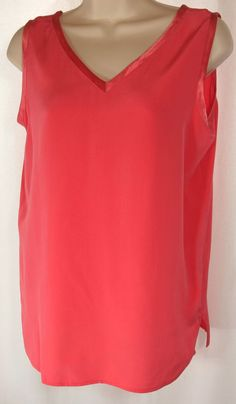 Preston & York Silk Melon Salmon Sleeveless V-Neck Tank Top Shell Satin Trim #PrestonYork #TankCami #Career