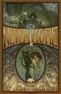 Book cover created for the self-published middle grade novel Nevermore by Sam Shore
