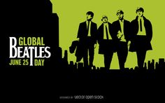 Beatles Day poster featuring the illustration of the four Beatles in whole body and the city landscape silhouette behind. Suitable for decoration,