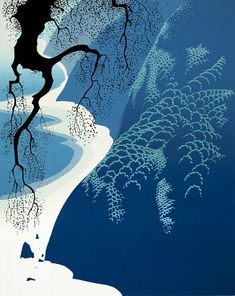 Big Sur and Branch - Eyvind Earle - Magic Realism, 1974 Big Sur, Op Art, Eyvind Earle, Magic Realism, American Artists, Landscape Art, Beautiful Landscapes, New York City, Concept Art