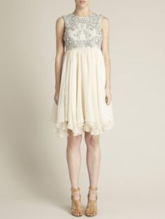 Jeweled Linen and Chiffon Dress $358.  Not a fan of the shoes, but the dress is precious :)
