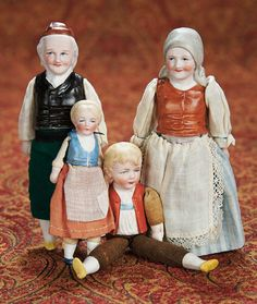 Home At Last - Antique Doll and Dollhouses: Four German Half-Bisque Dolls by Hertwig with Original Bodies Doll House People, Victorian Toys, Young Old, Minis, Bisque Doll, Bear Toy, Dollhouse Dolls, Antique Toys, Toys For Girls