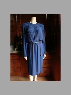 Vintage 70s, 80s Anne Hobbs Cobalt Blue semi sheer Pleated Career Dress by HeelsOnaShoestring