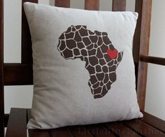 Love for Africa Screen Printed Decorative Pillow 14x14 - Made to Order